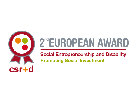 Logo of the event with the text CSR+D Second European Award Social Entrepreneurship and Disability Promoting Social Investment